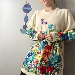 VTG Floral Beaded Embroidered Sweater Tunic